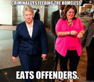 Annise Parker Eats Homeless People